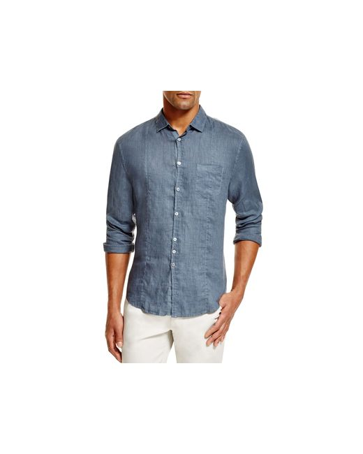 john varvatos linen slim fit button down shirt in blue for