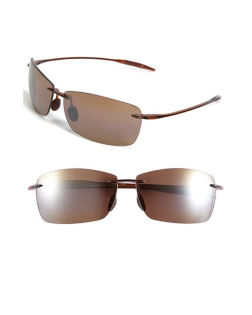 Maui Jim | Red 'lighthouse - Polarizedplus2' 65mm Rimless Sunglasses - Rootbeer | Lyst