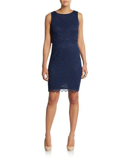 Ivanka trump Lace Overlay Dress in Blue (navy) | Lyst