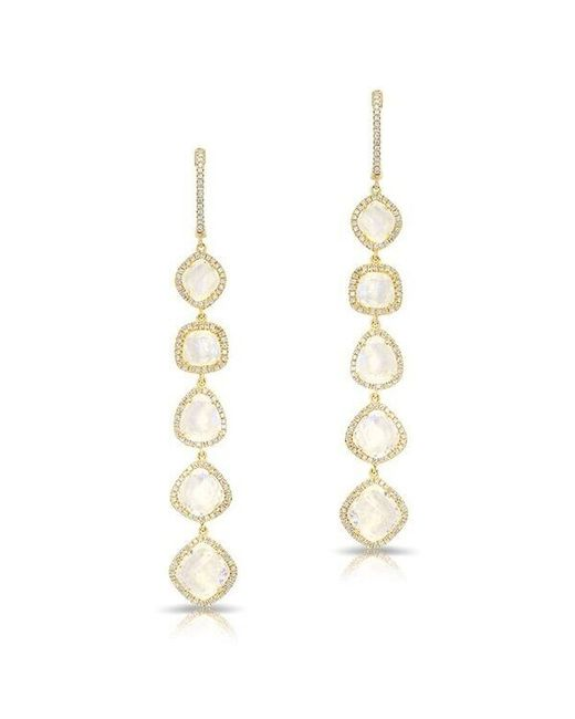 Anne Sisteron | Metallic 14kt Yellow Gold Organic Moonstone Diamond Drop Earrings | Lyst