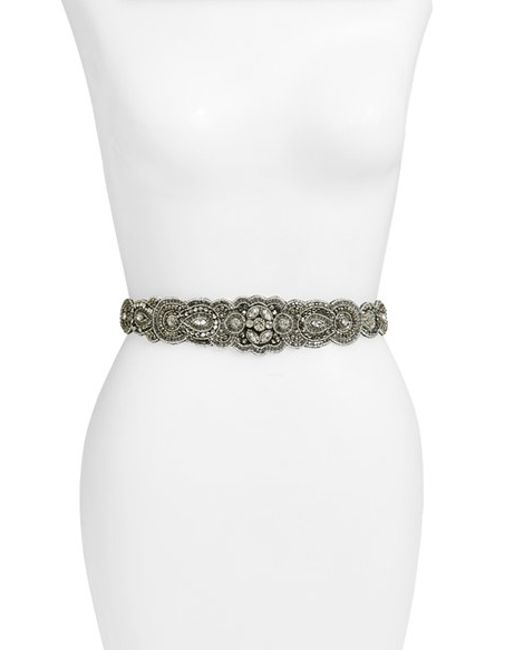 Glint | Gray 'arabesque' Beaded Stretch Belt | Lyst