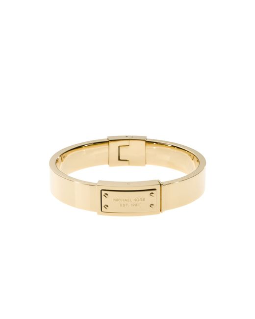 Michael Kors | Metallic Gold-tone Engraved Plaque Bangle | Lyst