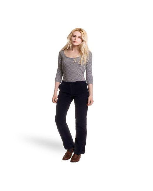 Petit Bateau | Black Women's Straight Cut Pants In Stretch Ribbed Velvet | Lyst