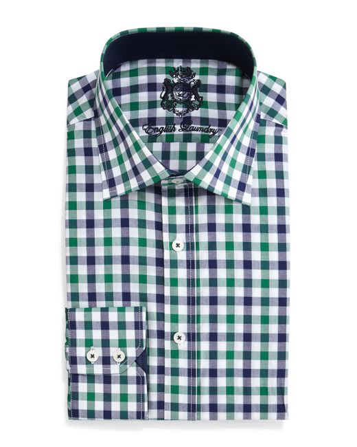 English laundry gingham check dress shirt in green for men for Navy blue gingham shirt