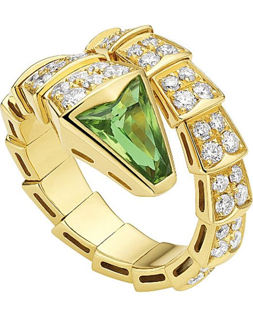 BVLGARI | Green Serpenti Double-coil 18kt Pink-gold And Diamond Ring | Lyst