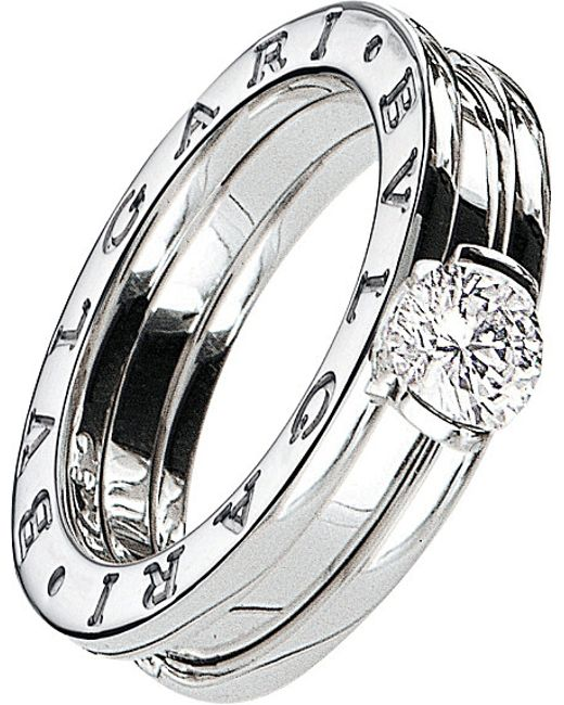 BVLGARI   Metallic B.zero1 18ct White-gold And Diamond Solitaire Ring   Lyst