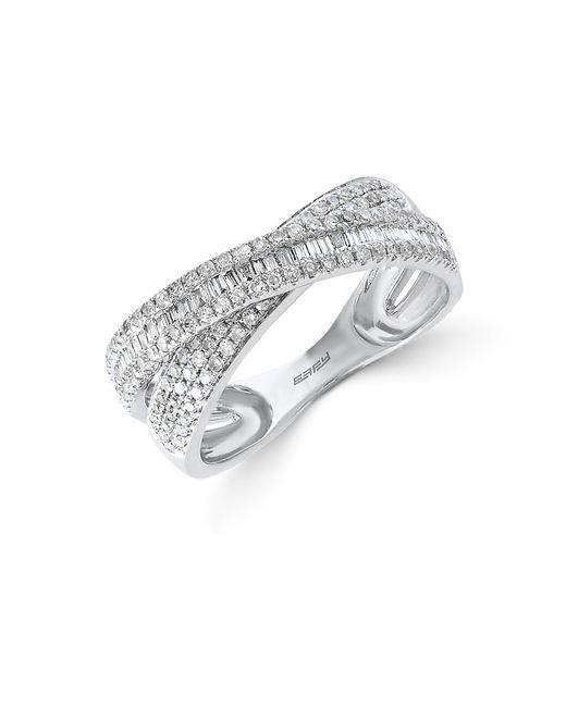Effy | Metallic Classique Diamond And 14k White Gold Crisscross Ring 0.67 Tcw | Lyst