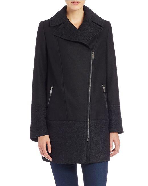 DKNY   Black Asymmetrical Zip-front Coat   Lyst