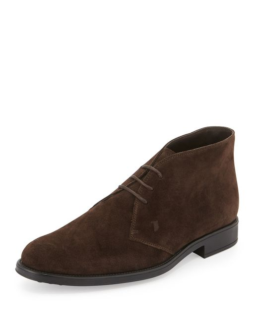 Tod S Suede Lace Up Chelsea Boot In Brown For Men Lyst