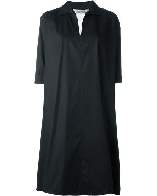 Max mara three quarter length sleeve shirt dress in black for Three quarter length shirt