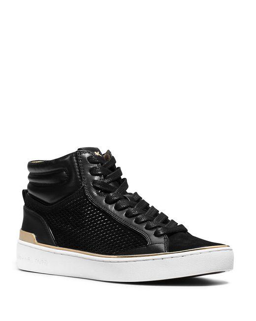 MICHAEL Michael Kors   Black Poppy Faux-fur High-top Sneaker   Lyst