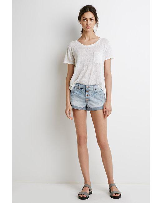 Forever 21 | Blue Mid-rise Cuffed Denim Shorts | Lyst
