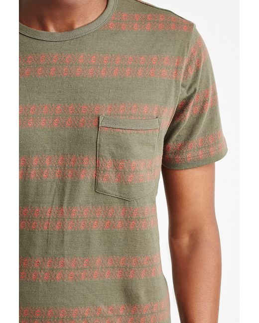 Forever 21 | Green Geo-striped Pocket Tee for Men | Lyst