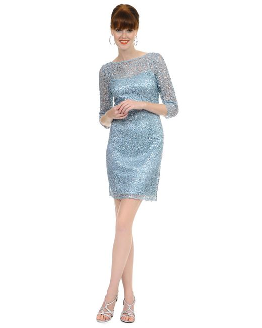 Kay Unger | Blue Sequined Lace Dress | Lyst