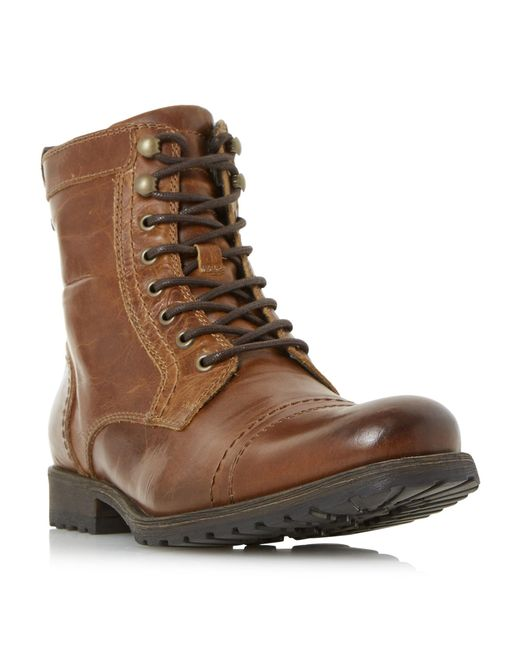 Dune - Brown Tan 'cowell' Toe Cap Lace Up Worker Boots for Men - Lyst