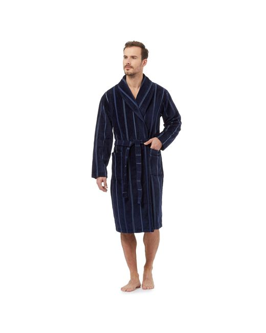 J By Jasper Conran Navy Striped Velour Dressing Gown in Blue for Men ...