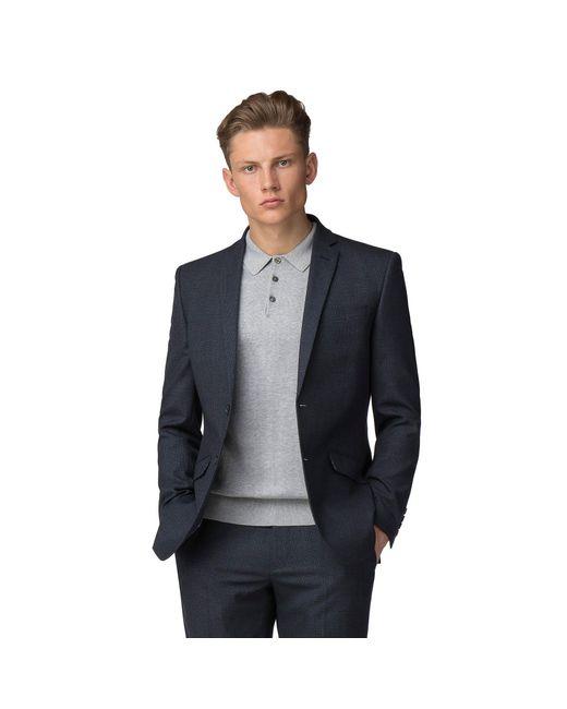 Ben Sherman - Blue Navy Waffle Weave Tailored Fit Jacket for Men - Lyst