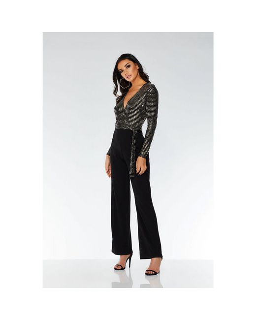 Quiz - Towie Black And Gold V Neck Jumpsuit - Lyst