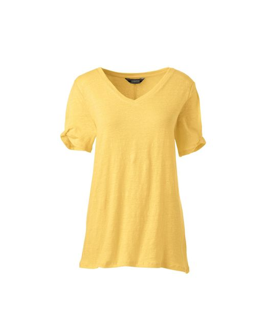 98adf432e6 Lands  End Yellow Tall Linen Split Sleeve T-shirt in Yellow - Lyst