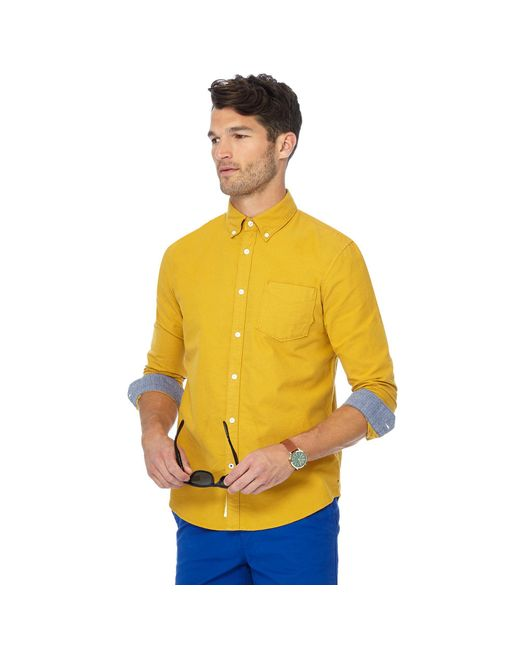 Racing Green - Big And Tall Yellow Tailored Fit Oxford Shirt for Men - Lyst