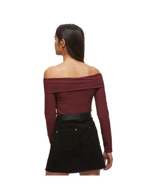43b6883ab5ab7 ... Miss Selfridge - Red Burgundy Fold Over Bardot Top - Lyst