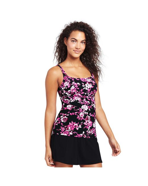 Lands' End - Multicolor Multi Shape And Enhance Rose Print Tankini Top - Lyst