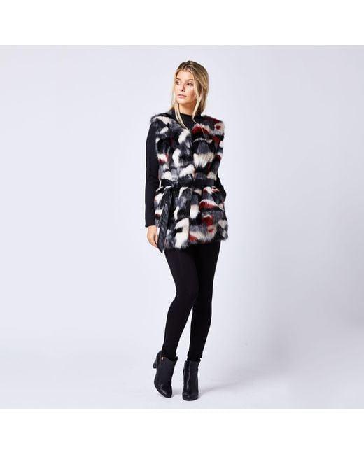 ... Angeleye - Black Multicoloured Sleeveless Faux Fur Gilet - Lyst eb4fa7a21c7