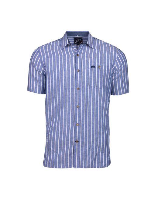 Raging Bull - Big And Tall Blue Long Sleeve Stripe Linen Shirt for Men - Lyst