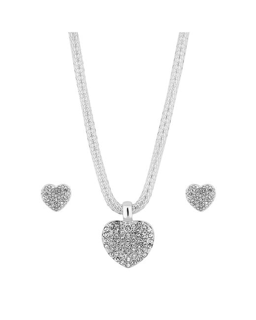 Red Herring - Metallic Silver Crystal Heart Jewellery Set - Lyst