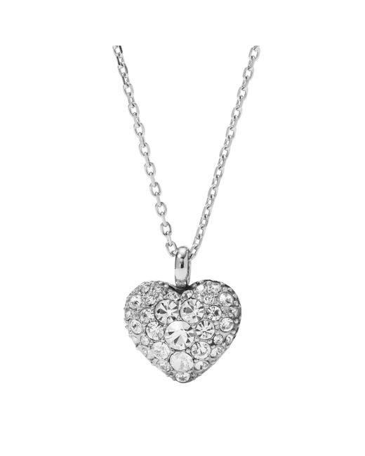 Fossil - Metallic Silver Heart Crystal Necklace - Lyst