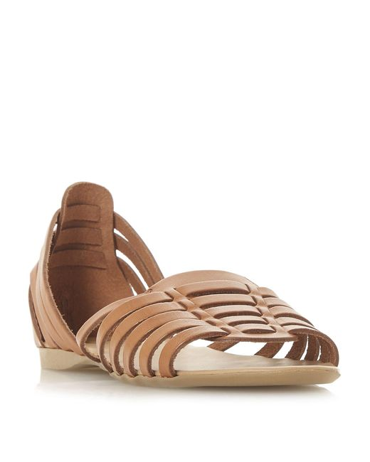 Dune - Brown Tan Leather 'gili' Gladiator Sandals - Lyst