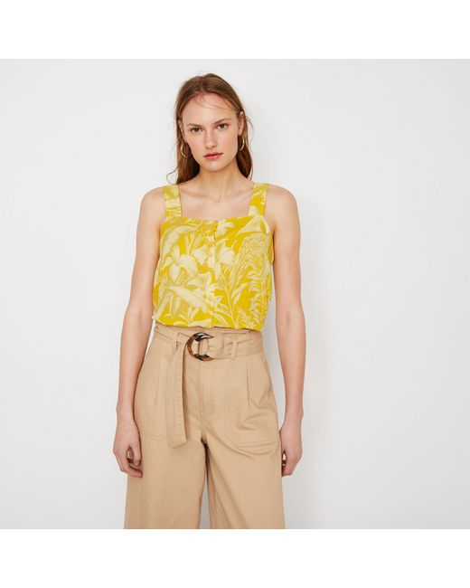 5e1ffbf638 Warehouse - Yellow Hidden Parrot Square Neck Camisole Top - Lyst ...