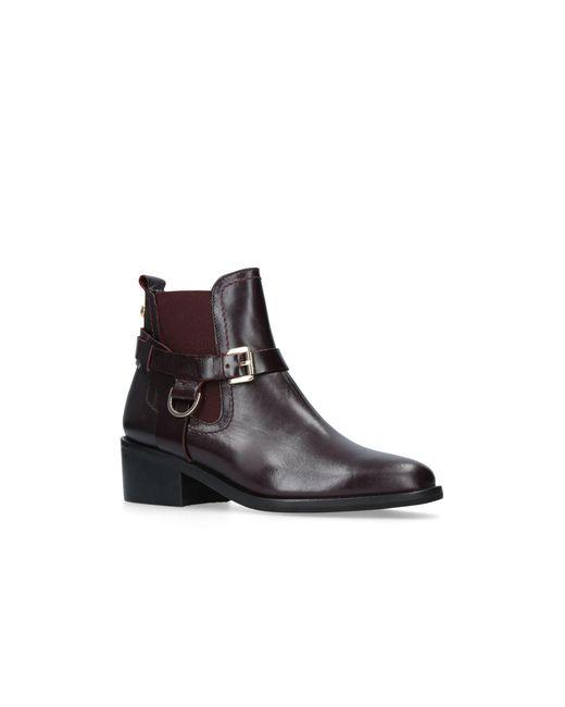 Carvela Kurt Geiger - Red 'saddle' Low Heel Ankle Boots - Lyst