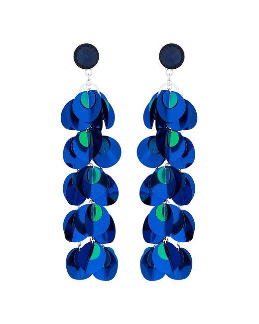 Red Herring - Blue Sequin Drop Statement Earrings - Lyst