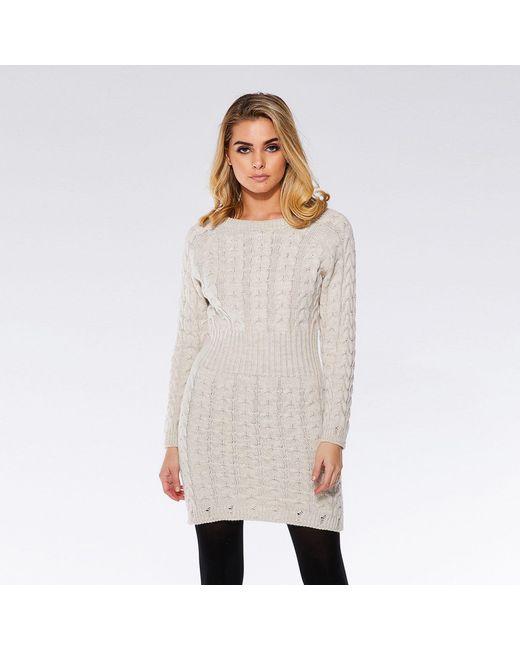 91c2331de70 Quiz - Natural Oatmeal Knit Cable Design Jumper Dress - Lyst ...