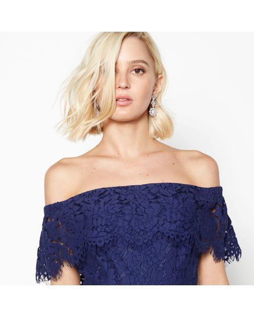 ca1f3efd647 Début Dark Blue Lace  brianna  Bardot Midi Dress in Blue - Lyst