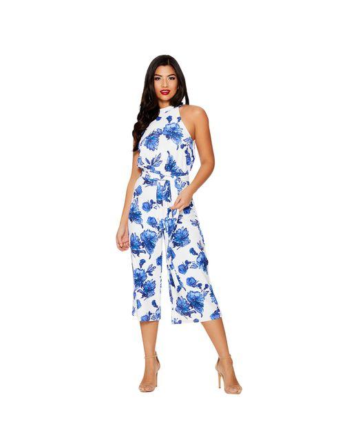 Quiz - Blue And White Floral Print Jumpsuit - Lyst