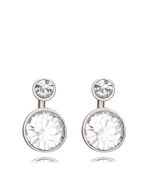 Pilgrim - Metallic Silver Plated 2-in-1 Crystal Earrings - Lyst
