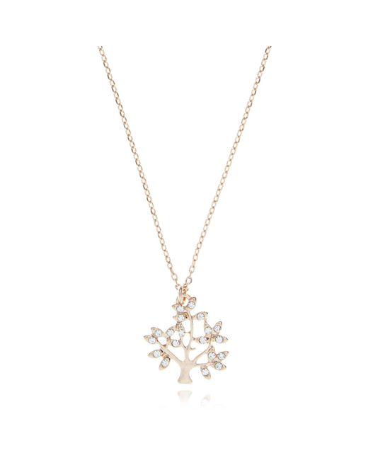 Pilgrim - Metallic Rose Gold Crystal Tree Necklace - Lyst