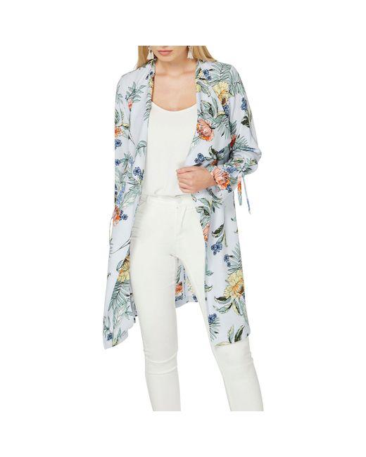 Dorothy Perkins - Metallic Silver Floral Tie Sleeve Duster Coat - Lyst