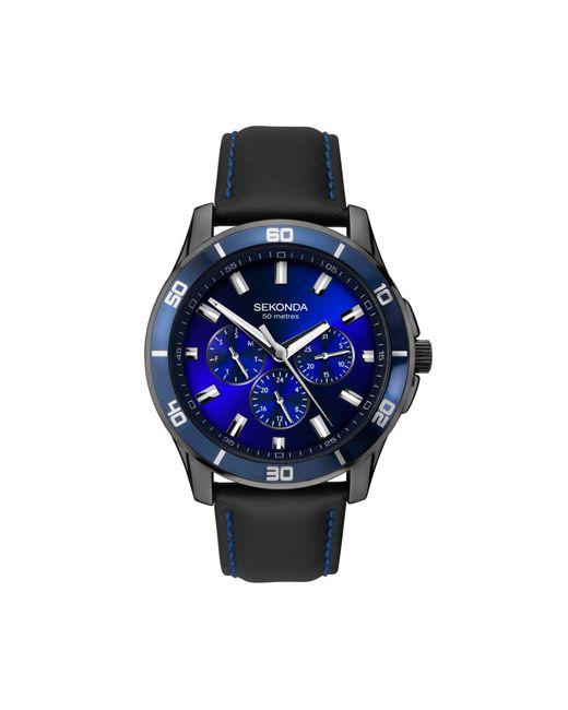 Sekonda - Men's Black Chronograph Leather Strap Watch 1634.28 for Men - Lyst
