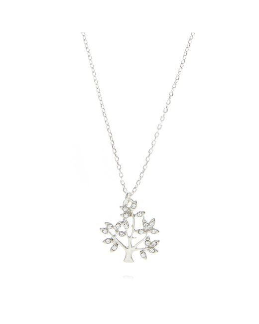 Pilgrim - Metallic Silver Plated Crystal Tree Necklace - Lyst