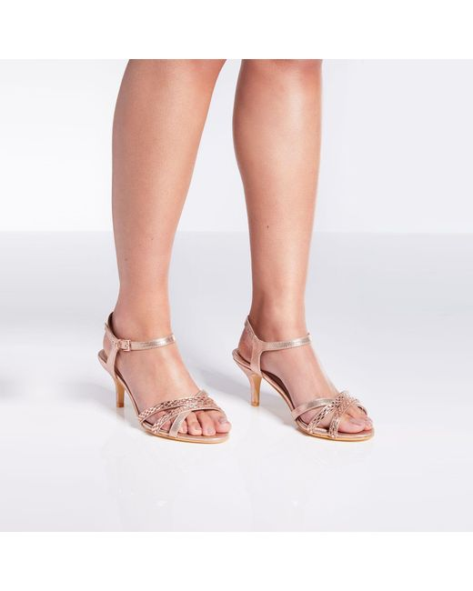 9a137e4a7bfe Quiz - Metallic Wide Fit Rose Gold Satin Low Heel Sandals - Lyst ...