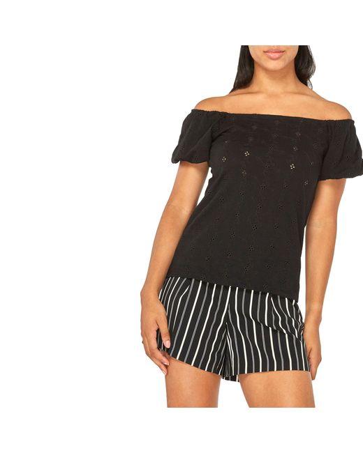 09fc89184c6cfd Dorothy Perkins Black Broiderie Bardot Top in Black - Lyst