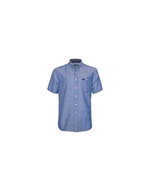 Raging Bull - Short Sleeve Linen Sky Blue Shirt for Men - Lyst