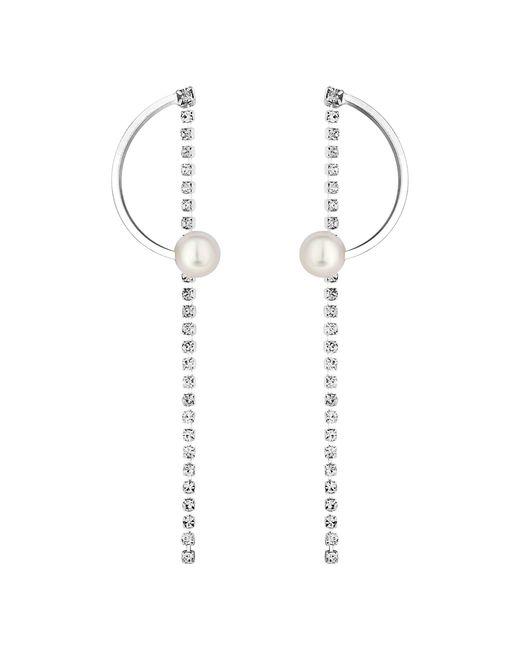 Lipsy - Metallic Pearl And Crystal Half Hoop Earrings - Lyst