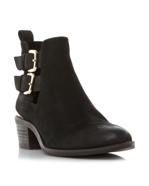 Steve Madden - Black Leather 'picos' Block Heel Ankle Boots - Lyst
