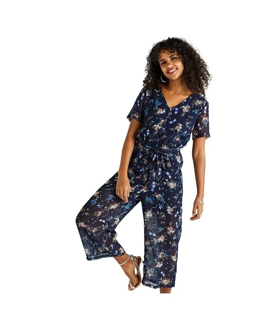 Yumi' - Blue Navy Floral And Dragonfly Printed Jumpsuit - Lyst