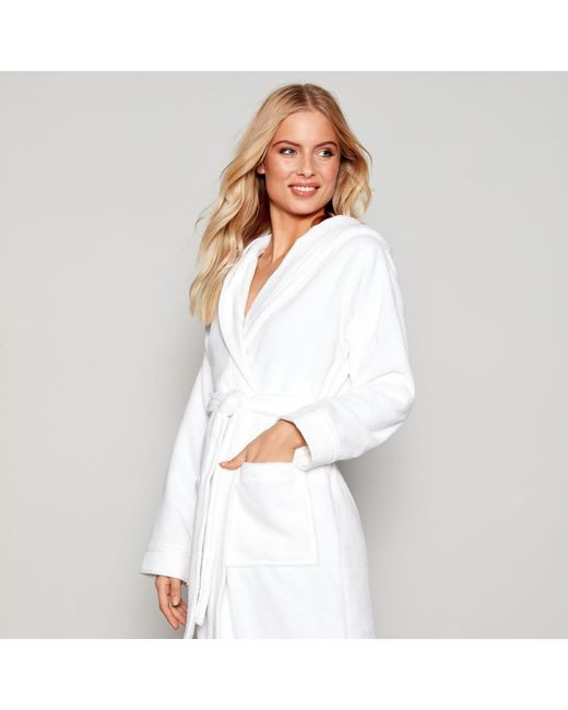 J By Jasper Conran White Towelling Hooded Dressing Gown in White - Lyst