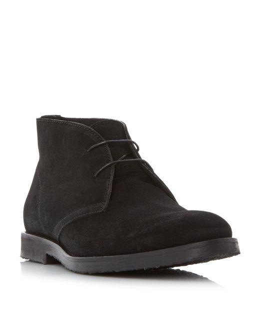 Dune - Black 'compton' Sleek Suede Chukka Shoes for Men - Lyst